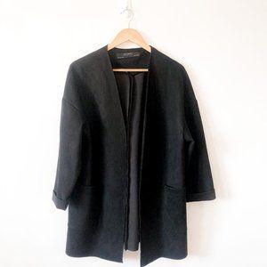 Zara Black Suede Coat Blazer w/ Pockets Sz Small